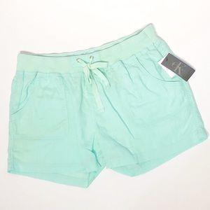 NWT Calvin Klein Linen Shorts in a Mint Green